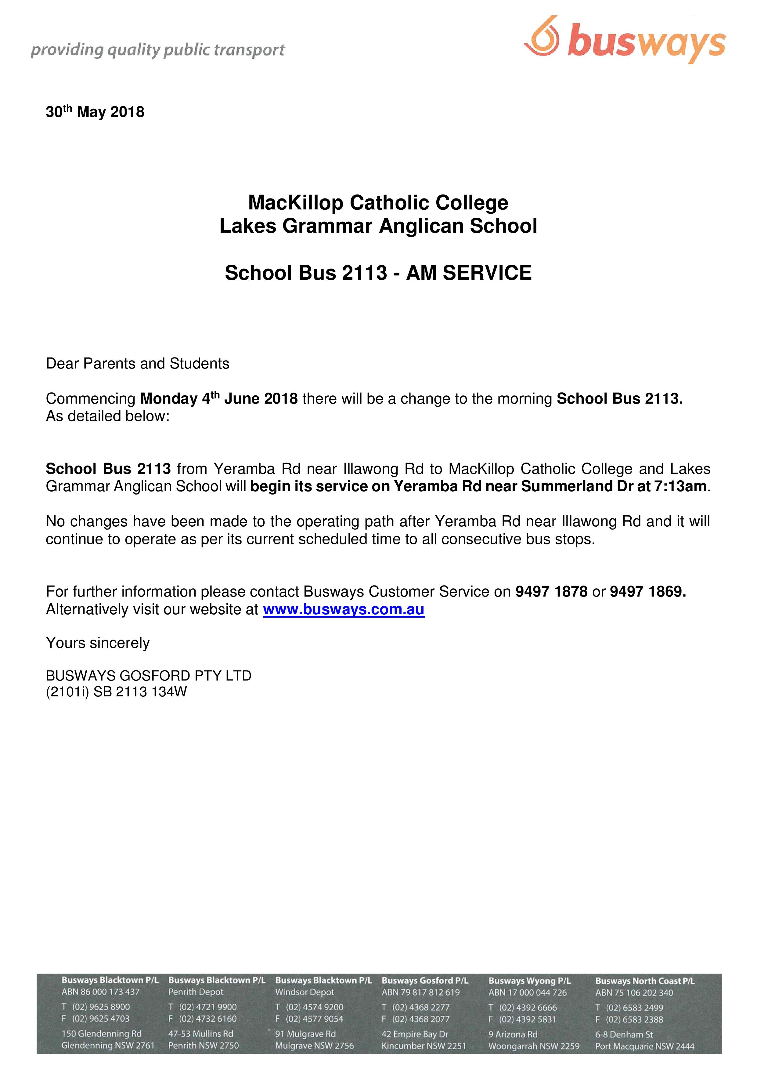 Change to morning school bus route 2113 – MacKillop Catholic
